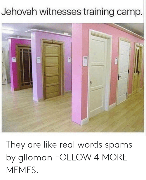 jehovah: Jehovah witnesses training camp. They are like real words spams by glloman FOLLOW 4 MORE MEMES.