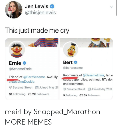 rts: Jen Lewis  @thisjenlewis  This just made me cry  Ernie  @SesameErnie  Bert  @bertsesame  Roommate of @Se  sameErnie, fan o  caps, paper clips, oatmeal. RTs do I  Friend of @BertSesame. Awfully  wsesameDuckie  @ Sesame Street  10 Following 73.2K Followers  endorsements.  Joined May 20 Sesame Street  Joined May 2014  9 Following 62.6K Followers meirl by Snapped_Marathon MORE MEMES