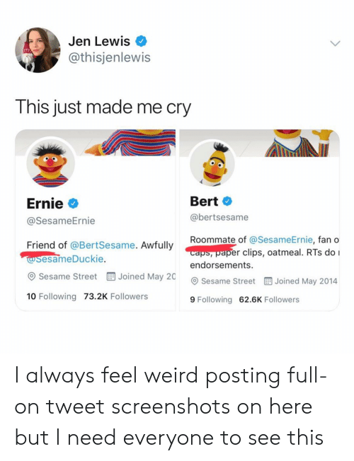 rts: Jen Lewis  @thisjenlewis  This just made me cry  Ernie  @SesameErnie  Bert  @bertsesame  Roommate of @Ses  caps, paper clips, oatmeal. RTs do I  endorsements.  ameErnie, fan o  Friend of @BertSesame. Awfully  esameDuckie.  esame Street EE Joined May 20  Sesame Street Joined May 2014  10 Following 73.2K Followers  9 Following 62.6K Followers I always feel weird posting full-on tweet screenshots on here but I need everyone to see this