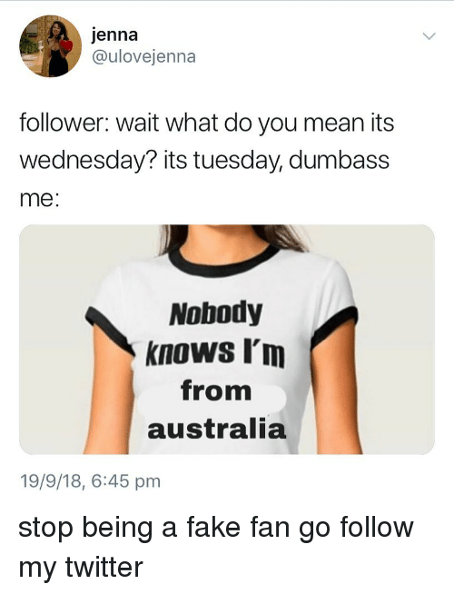 Fake, Memes, and Twitter: jenna  @ulovejenna  follower: wait what do you mean its  wednesday? its tuesday, dumbass  me:  Nobody  knows I'm  from  australia  19/9/18, 6:45 pm stop being a fake fan go follow my twitter