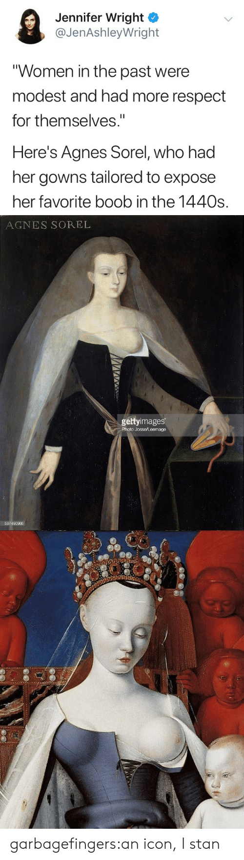 "modest: Jennifer Wright ^  @JenAshleyWright  Women in the past were  modest and had more respect  for themselves""  Here's Agnes Sorel, who had  her gowns tailored to expose  her favorite boob in the 1440s.   AGNES SOREL  gettyimages  Photo Josse/Leemage  587490966 garbagefingers:an icon, I stan"