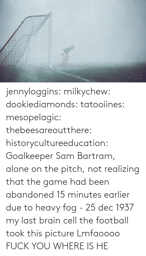 The Game: jennyloggins:  milkychew: dookiediamonds:  tatooiines:   mesopelagic:  thebeesareoutthere:  historycultureeducation: Goalkeeper Sam Bartram, alone on the pitch, not realizing that the game had been abandoned 15 minutes earlier due to heavy fog - 25 dec 1937 my last brain cell   the football took this picture    Lmfaoooo      FUCK YOU WHERE IS HE