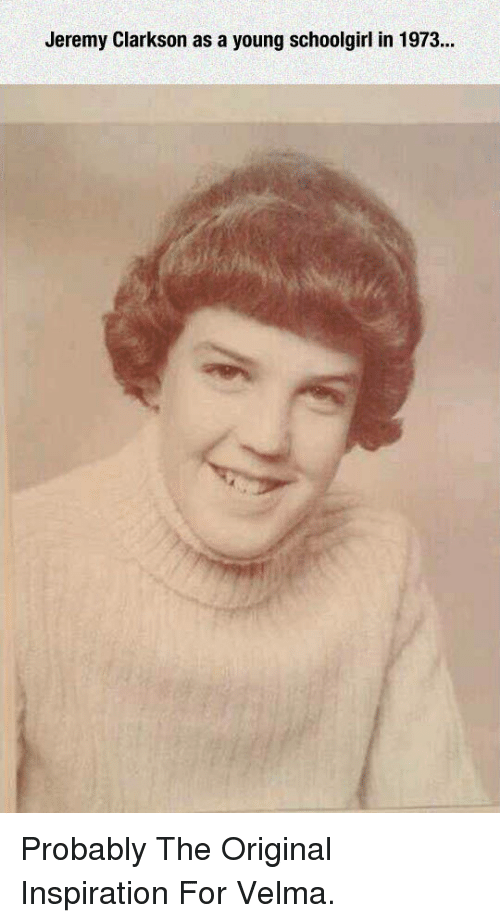 Jeremy Clarkson: Jeremy Clarkson as a young schoolgirl in 1973 <p>Probably The Original Inspiration For Velma.</p>