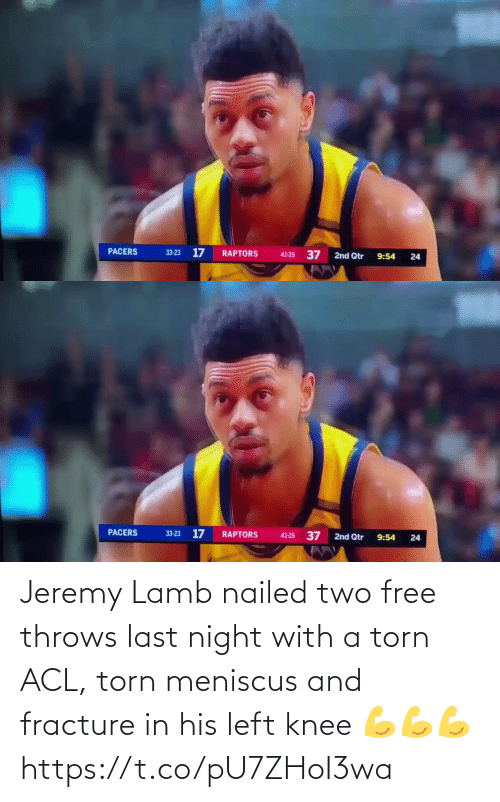 last night: Jeremy Lamb nailed two free throws last night with a torn ACL, torn meniscus and fracture in his left knee  💪💪💪 https://t.co/pU7ZHoI3wa