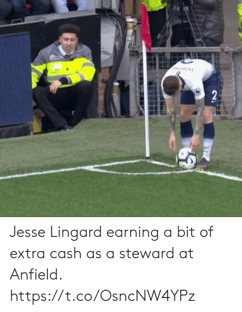 Soccer, Jesse, and Extra: Jesse Lingard earning a bit of extra cash as a steward at Anfield. https://t.co/OsncNW4YPz