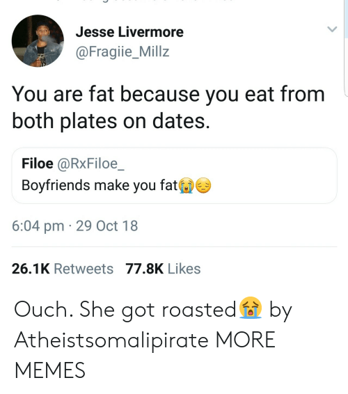 Dank, Memes, and Target: Jesse Livermore  @Fragiie_Millz  You are fat because you eat from  both plates on dates.  Filoe @RxFiloe  Boyfriends make you fat  6:04 pm 29 Oct 18  26.1K Retweets 77.8K Likes Ouch. She got roasted😭 by Atheistsomalipirate MORE MEMES