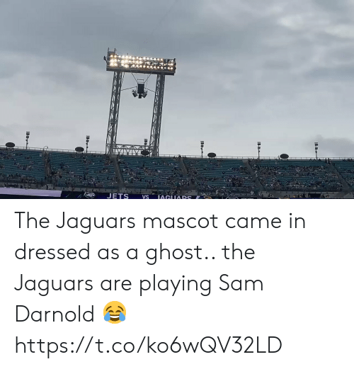 sam: JETS  IAGUARS  VS The Jaguars mascot came in dressed as a ghost.. the Jaguars are playing Sam Darnold 😂 https://t.co/ko6wQV32LD