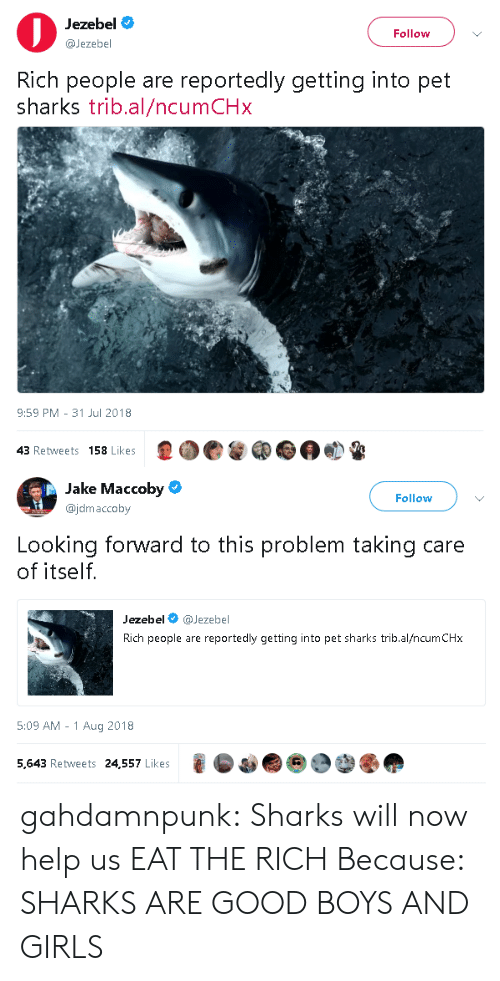 boys and girls: Jezebel  @Jezebel  Follow  Rich people are reportedly getting into pet  sharks trib.al/ncumCHx  9:59 PM- 31 Jul 2018  43 Retweets 158 Likes   Jake Maccoby  @jdmaccoby  Follow  Looking forward to this problem taking care  of itself.  Jezebel @Jezebel  Rich people are reportedly getting into pet sharks trib.al/ncumCHx  5:09 AM -1 Aug 2018  5,643 Retweets 24,557 Likes gahdamnpunk:  Sharks will now help us EAT THE RICH  Because: SHARKS ARE GOOD BOYS AND GIRLS