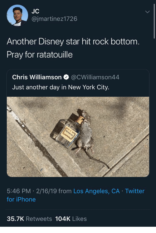 Disney, Iphone, and New York: @jmartinez1726  Another Disney star hit rock bottom  Pray for ratatouille  Chris Williamson @CWilliamson44  Just another day in New York City.  5:46 PM 2/16/19 from Los Angeles, CA Twitter  for iPhone  35.7K Retweets 104K Likes
