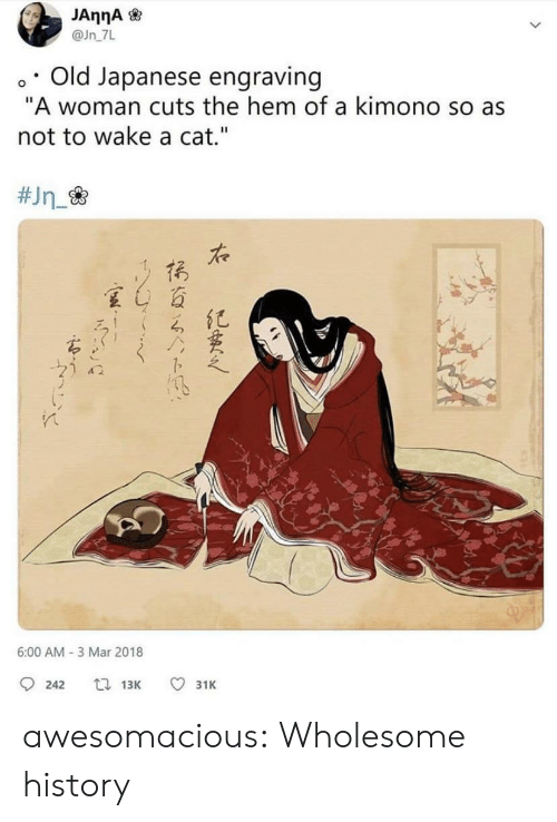 "Tumblr, Blog, and History: @Jn 7L  o. Old Japanese engraving  ""A woman cuts the hem of a kimono so as  not to wake a cat.""  た  夏4百  6:00 AM- 3 Mar 2018  242  13K  31K awesomacious:  Wholesome history"