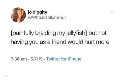 Iphone, Twitter, and Jellyfish: jo diggity  @WhaJoTalkinBout  [painfully braiding my jellyfish] but not  having you as a friend would hurt more  7:36 am 5/7/19 Twitter for iPhone .