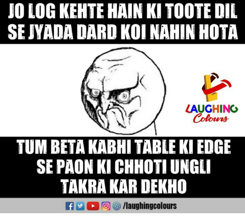 Indianpeoplefacebook, Table, and Edge: JO LOG KEHTE HAIN KI TOOTE DIL  SEJYADA DARD KOI NAHIN HOTA  LAUGHING  Coton  TUM BETA KABHI TABLE KI EDGE  SE PAON KI CHHOTI UNGLI  TAKRA KAR DEKHO  f /laughingcolours