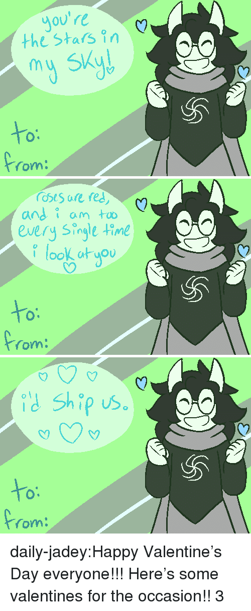 Target, Tumblr, and Valentine's Day: Jo  the Stars in  (y  my SKad  to  rom   C?  andi anm  every Single time  look atuou  to  rom   (y  id Ship us  to  om daily-jadey:Happy Valentine's Day everyone!!! Here's some valentines for the occasion!! 3