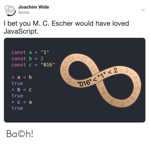 "I Bet, True, and Javascript: Joachim Viide  @jviide  I bet you M. C. Escher would have loved  JavaScript.  ""1""  const a  13  12  const b  2  const c = ""016""  3  15  > a <b  016""""1 < 2  true  >b<c  true  C<a  true  11  14 Ba©h!"