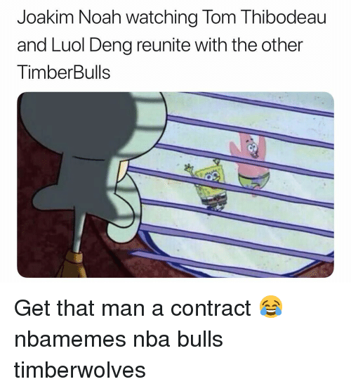 Basketball, Joakim Noah, and Nba: Joakim Noah watching Tom Thibodeau  and Luol Deng reunite with the other  TimberBulls Get that man a contract 😂 nbamemes nba bulls timberwolves