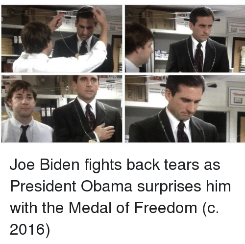 Medal Of Freedom: Joe Biden fights back tears as President Obama surprises him with the Medal of Freedom (c. 2016)
