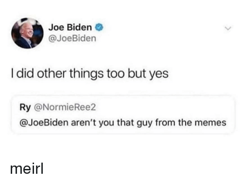 Joe Biden: Joe Biden  @JoeBiden  I did other things too but yes  Ry @NormieRee2  @JoeBiden aren't you that guy from the memes meirl