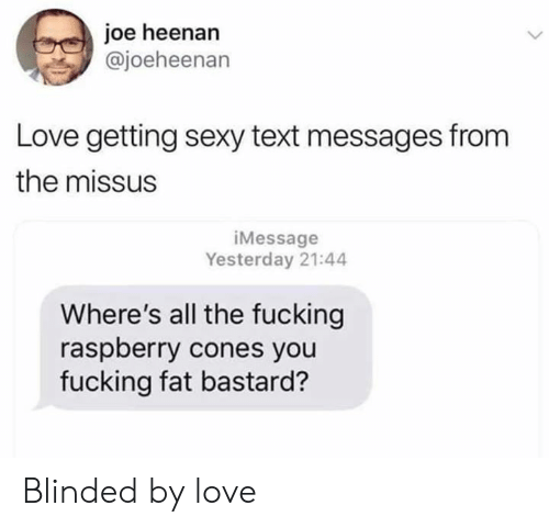 Dank, Fucking, and Love: joe heenan  @joeheenan  Love getting sexy text messages from  the missus  iMessage  Yesterday 21:44  Where's all the fucking  raspberry cones you  fucking fat bastard? Blinded by love