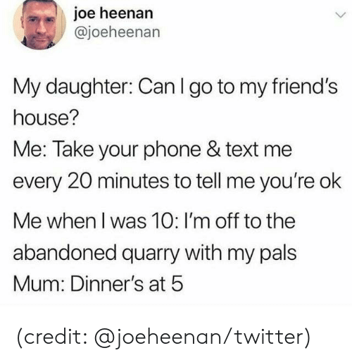 Dank, Friends, and Phone: joe heenan  @joeheenan  My daughter: Can I go to my friend's  house?  Me: Take your phone & text me  every 20 minutes to tell me you're ok  Me when I was 10: I'm off to the  abandoned quarry with my pals  Mum: Dinner's at 5 (credit: @joeheenan/twitter)