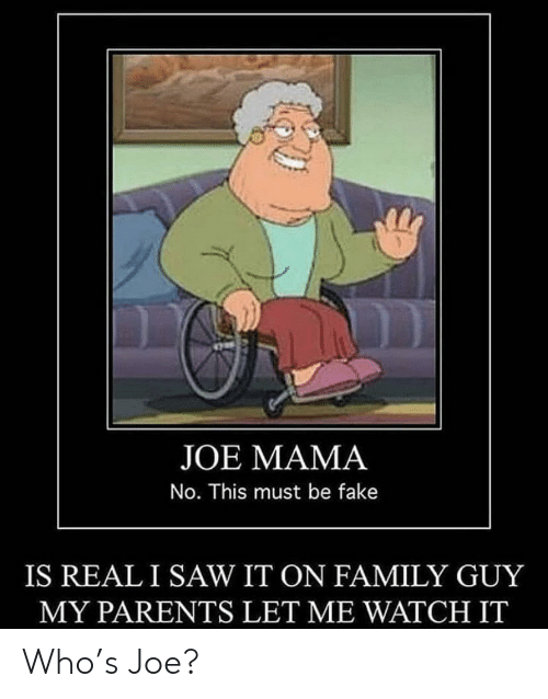 Fake, Family, and Family Guy: JOE MAMA  No. This must be fake  IS REALI SAW IT ON FAMILY GUY  MY PARENTS LET ME WATCH IT Who's Joe?