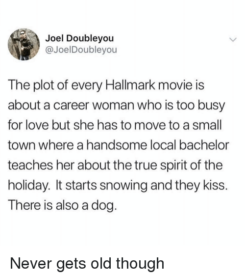 Funny, Love, and True: Joel Doubleyou  @JoelDoubleyou  The plot of every Hallmark movie is  about a career woman who is too busy  for love but she has to move to a small  town where a handsome local bachelor  teaches her about the true spirit of the  holiday. It starts snowing and they kiss.  There is also a dog. Never gets old though