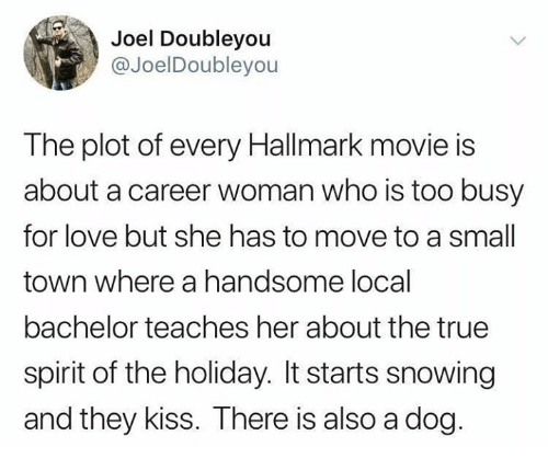 Dank, Love, and True: Joel Doubleyou  @JoelDoubleyou  The plot of every Hallmark movie is  about a career woman who is too busy  for love but she has to move to a small  town where a handsome local  bachelor teaches her about the true  spirit of the holiday. It starts snowing  and they kiss. There is also a dog.