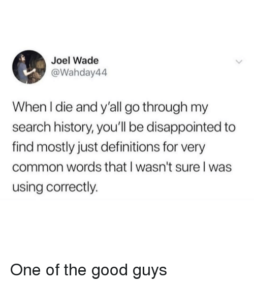 good guys: Joel Wade  @Wahday44  When l die and y'all go through my  search history, you'll be disappointed to  find mostly just definitions for very  common words that l wasn't sure l was  using correctly. One of the good guys