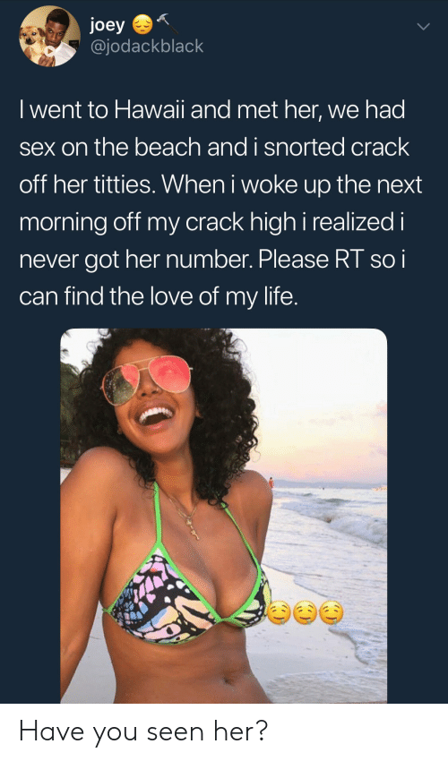 Have You Seen Her: joey  @jodackblack  I went to Hawaii and met her, we had  sex on the beach and i snorted crack  off her titties. When i woke up the next  morning off my crack high i realized i  never got her number. Please RT soi  can find the love of my life Have you seen her?