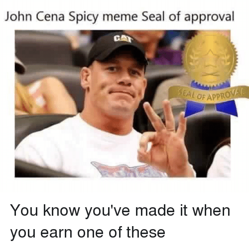 John Cena, Meme, and Seal: John Cena Spicy meme Seal of approval  CAA You know you've made it when you earn one of these