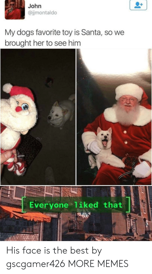 To See: John  @jjmontaldo  My dogs favorite toy is Santa, so we  brought her to see him  Everyone 1iked that His face is the best by gscgamer426 MORE MEMES