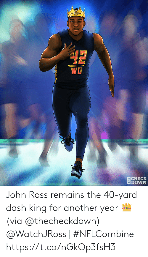 ross: John Ross remains the 40-yard dash king for another year 👑 (via @thecheckdown)  @WatchJRoss | #NFLCombine https://t.co/nGkOp3fsH3
