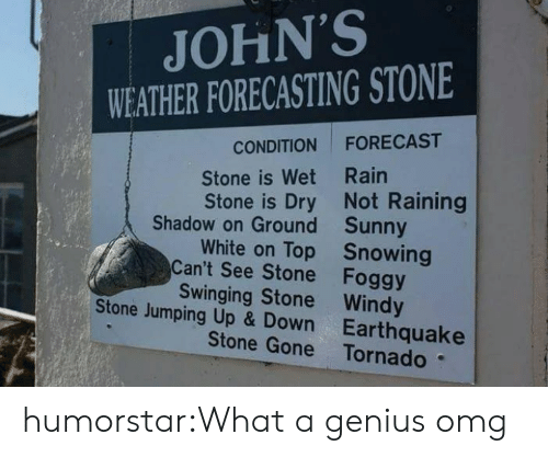 johns: JOHN'S  WEATHER FORECASTING STONE  FORECAST  CONDITION  Stone is Wet Rain  Stone is Dry Not Raining  Shadow on Ground Sunny  White on Top Snowing  Can't See Stone Foggy  Swinging Stone Windy  Stone Jumping Up & Down Earthquake  Stone Gone Tornado humorstar:What a genius omg