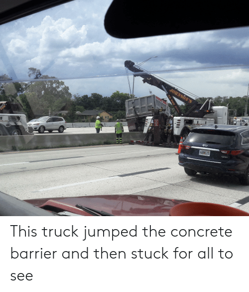 Lice, Jumped, and Concrete: JOHNSON'S  U  TON  CAUTION  THIS  VEHICLE  MAKES  WIDE  TURNS  LICE  49 CLOEST AND  rst..asd  HUB 35  QX60  75 TON Rotator This truck jumped the concrete barrier and then stuck for all to see