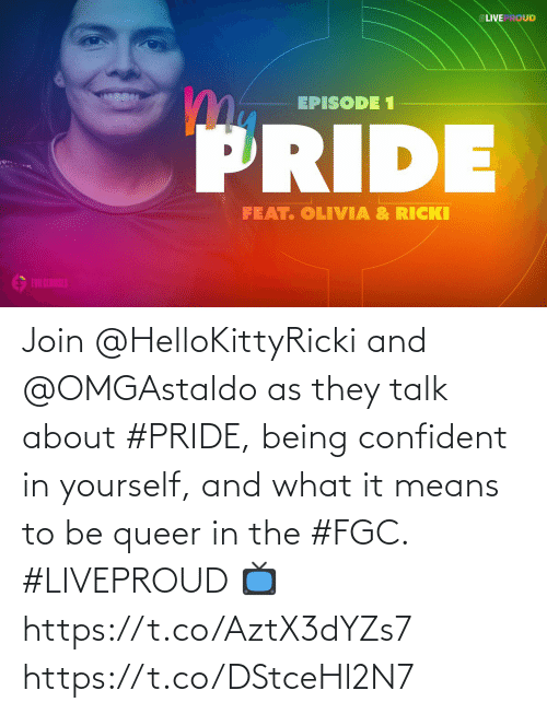 pride: Join @HelloKittyRicki and @OMGAstaldo as they talk about #PRIDE, being confident in yourself, and what it means to be queer in the #FGC. #LIVEPROUD  📺  https://t.co/AztX3dYZs7 https://t.co/DStceHl2N7
