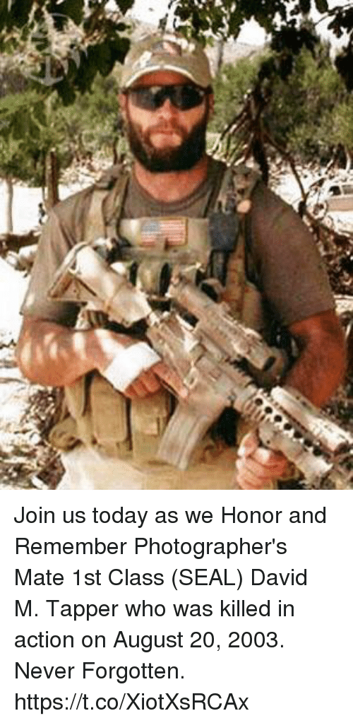 Memes, Seal, and Today: Join us today as we Honor and Remember Photographer's Mate 1st Class (SEAL) David M. Tapper who was killed in action on August 20, 2003. Never Forgotten. https://t.co/XiotXsRCAx