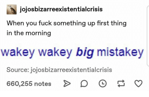 Fuck, Big, and Source: jojosbizarreexistentialcrisis  When you fuck something up first thing  in the morning  wakey wakey big mistakey  Source: jojosbizarreexistentialcrisis  660,255 notes