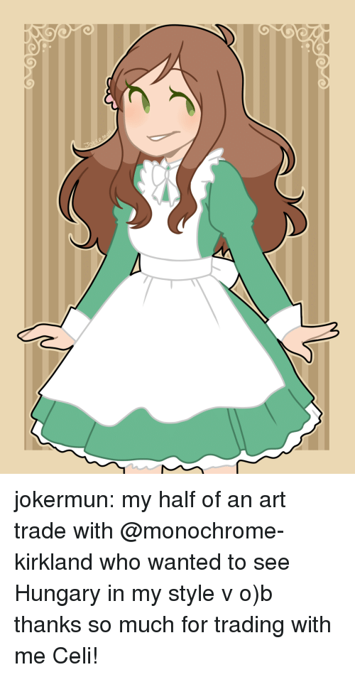 Target, Tumblr, and Blog: jokermun: my half of an art trade with @monochrome-kirkland who wanted to see Hungary in my style  v o)b thanks so much for trading with me Celi!