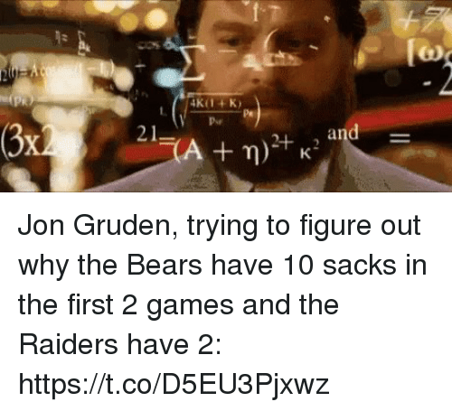 Sports, Bears, and Games: Jon Gruden, trying to figure out why the Bears have 10 sacks in the first 2 games and the Raiders have 2: https://t.co/D5EU3Pjxwz