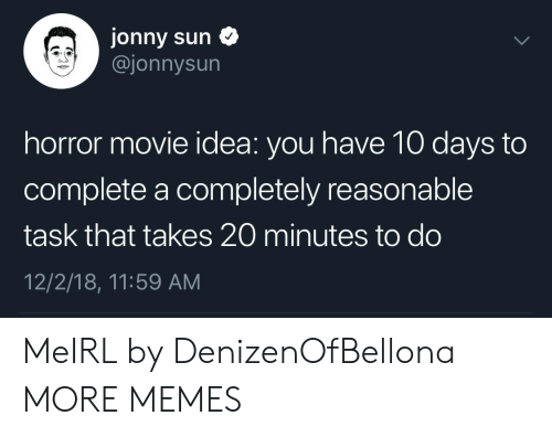 Dank, Memes, and Target: Jonny sun  @jonnysun  horror movie idea: you have 10 days to  complete a completely reasonable  task that takes 20 minutes to do  12/2/18, 11:59 AM MeIRL by DenizenOfBellona MORE MEMES