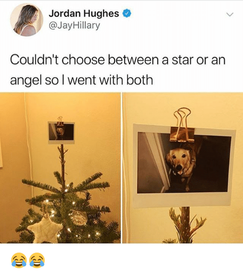 Angel, Jordan, and Star: Jordan Hughes  @JayHillary  Couldn't choose between a star or an  angel so l went with both 😂😂