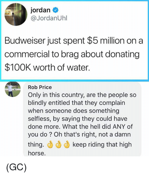 high horse: jordan  @JordanUhl  Budweiser just spent $5 million on a  commercial to brag about donating  $100K worth of water.  Rob Price  Only in this country, are the people so  blindly entitled that they complain  when someone does something  selfless, by saying they could have  done more. What the hell did ANY of  you do? Oh that's right, not a damn  thing.もらもkeep riding that high  horse (GC)
