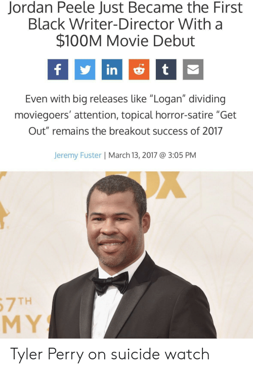 """breakout: Jordan Peele Just Became the First  Black Writer-Director With a  $100M Movie Debut  fint  Even with big releases like """"Logan"""" dividing  moviegoers' attention, topical horror-satire """"Get  Out"""" remains the breakout success of 2017  Jeremy Fuster 