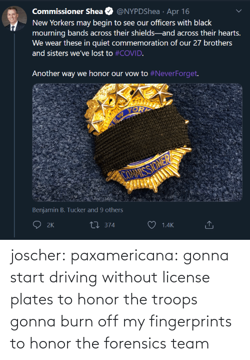 Without: joscher:  paxamericana: gonna start driving without license plates to honor the troops gonna burn off my fingerprints to honor the forensics team