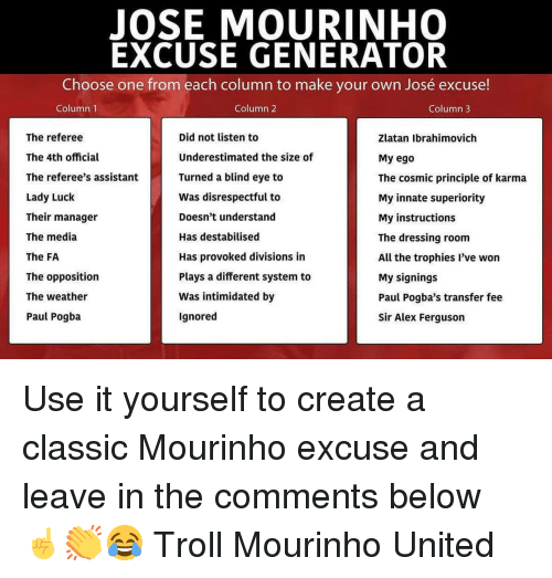 paul pogba: JOSE MOURINHO  EXCUSE GENERATOR  Choose one from each column to make your own José excuse!  Column 1  Column 2  Column3  The referee  The 4th official  The referee's assistant  Lady Luck  Their manager  The media  The FA  The opposition  The weather  Paul Pogba  Did not listen to  Underestimated the size of  Turned a blind eye to  Was disrespectful to  Doesn't understand  Has destabilised  Has provoked divisions in  Plays a different system to  Was intimidated by  Ignored  Zlatan Ibrahimovich  My ego  The cosmic principle of karma  My innate superiority  My instructions  The dressing room  All the trophies l've won  My signings  Paul Pogba's transfer fee  Sir Alex Ferguson Use it yourself to create a classic Mourinho excuse and leave in the comments below ☝️👏😂 Troll Mourinho United