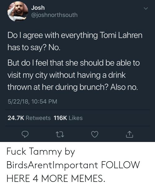 Tammy: Josh  @joshnorthsouth  Do I agree with everything Tomi Lahren  has to say? No.  But do I feel that she should be able to  visit my city without having a drink  thrown at her during brunch? Also no.  5/22/18, 10:54 PM  24.7K Retwe ets 116K Likes Fuck Tammy by BirdsArentImportant FOLLOW HERE 4 MORE MEMES.