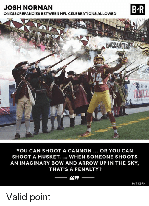 bowed: JOSH NORMAN  ON DISCREPANCIES BETWEEN NFL CELEBRATIONS ALLOWED  B R  YOU CAN SHOOT A CANNON... OR YOU CAN  SHOOT A MUSKET. WHEN SOMEONE SHOOTS  AN IMAGINARY BOW AND ARROW UP IN THE SKY,  THAT'S A PENALTY?  HIT ESPN Valid point.