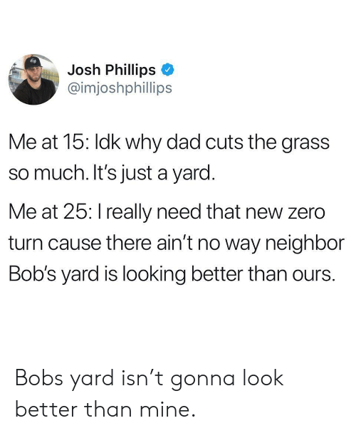 Dad, Zero, and Mine: Josh Phillips  @imjoshphillips  Me at 15: Idk why dad cuts the grass  so much. It's just a yard.  Me at 25: I really need that new zero  turn cause there ain't no way neighbor  Bob's yard is looking better than ours. Bobs yard isn't gonna look better than mine.
