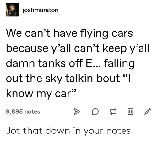 "Cars, Car, and Sky: joshmuratori  We can't have flying cars  because y'all can't keep y'all  damn tanks off E... falling  out the sky talkin bout ""I  know my car  9,895 notes  A Jot that down in your notes"