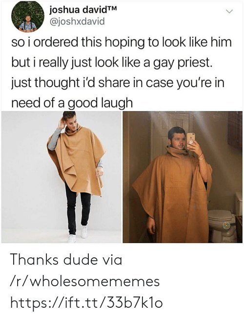 priest: joshua davidTM  @joshxdavid  so i ordered this hoping to look like him  but i really just look like a gay priest.  just thought i'd share in case you're in  need of a good laugh Thanks dude via /r/wholesomememes https://ift.tt/33b7k1o