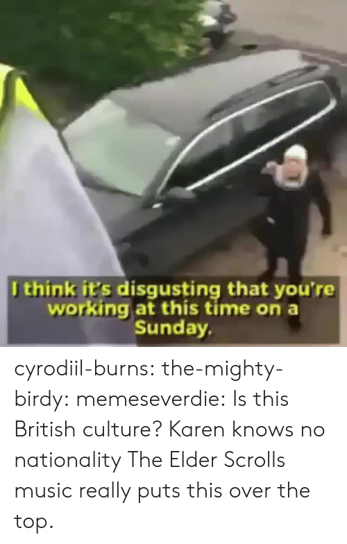 Music, Target, and Tumblr: Jthink it's disgusting that you're  working at this time on a  Sunday cyrodiil-burns: the-mighty-birdy:  memeseverdie:  Is this British culture?  Karen knows no nationality   The Elder Scrolls music really puts this over the top.